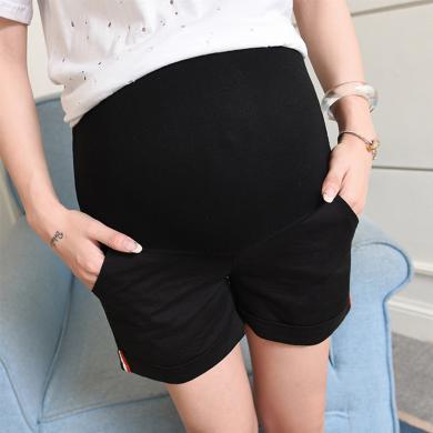 摩登孕媽 夏季新款簡約時尚孕婦短褲休閑百搭彈力外穿孕婦托腹短褲