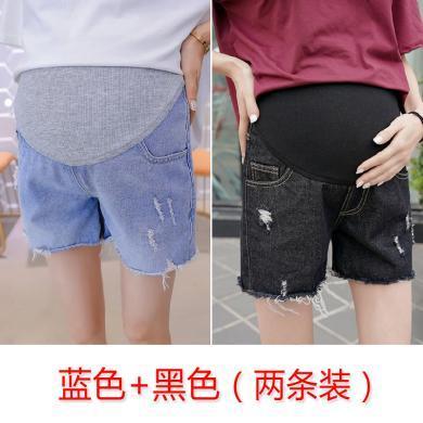 摩登孕媽 (2條109元)夏季孕婦褲孕婦裝牛仔短褲托腹外穿破洞修身時尚外穿褲