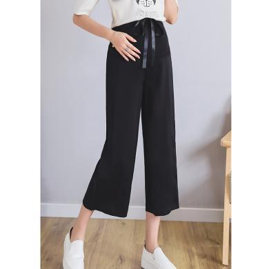 摩登孕媽 孕婦褲夏季新款女裝彈力高腰托腹褲寬松顯瘦薄款雪紡九分褲潮