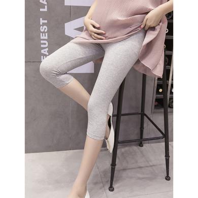 摩登孕妈 孕妇打底裤夏季新款弹力高腰托腹裤修身纯色百搭七分裤女