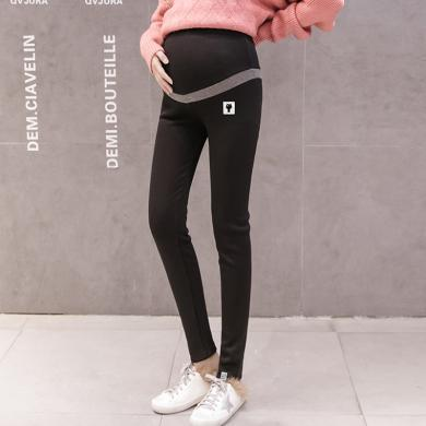 摩登孕妈 弹力高腰托腹裤女春秋季新款时尚简约修身孕妇装打底长裤