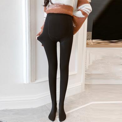 摩登孕媽 孕婦打底褲冬季新款加絨加厚托腹褲修身穿搭踩腳連腳襪褲女