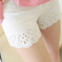 妃孕寶 孕婦褲夏季新款彈力高腰托腹褲個性鉤花鏤空防走光三分安全褲女