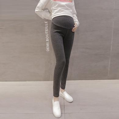 摩登孕妈 冬季新款修身加绒加厚百搭孕妇打底裤子纯色简约外穿托腹长裤女