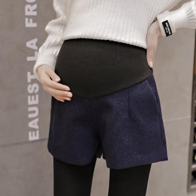摩登?#26032;?孕妇装秋冬季新款时尚百搭毛呢短裤宽?#31579;?#33136;托腹阔腿靴裤女