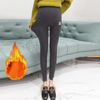 摩登孕媽 加絨孕婦褲冬季新款時尚孕媽休閑打底褲修身百搭小腳托腹褲女