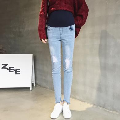 妃孕寶 孕婦褲新款時尚潮流孕媽破洞牛仔褲修身小腳鉛筆托腹褲女