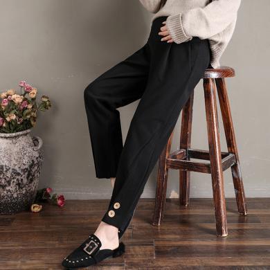 妃孕寶 時尚休閑褲女秋冬新款孕婦裝高腰托腹褲寬松顯瘦哈倫褲褲腳紐扣