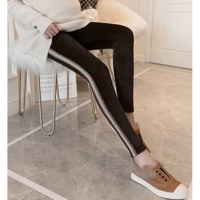 摩登孕媽 孕婦褲冬季新款修身彈力小腳褲高腰托腹褲加絨加厚金絲絨長褲女