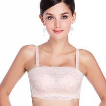 妃孕宝 少女抹胸式防走光文胸蕾丝裹胸调整型加厚小胸聚拢内衣