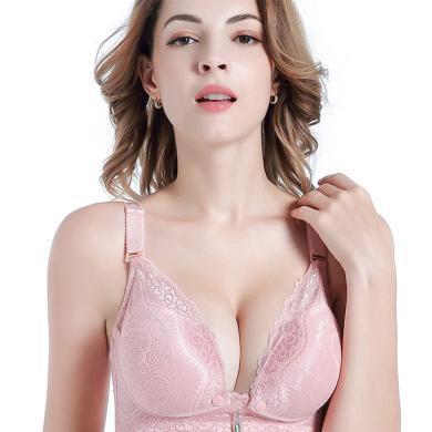 摩登孕妈 新款薄款孕妇内衣无钢圈前开扣棉哺乳文胸舒适聚拢防下垂喂奶胸罩女
