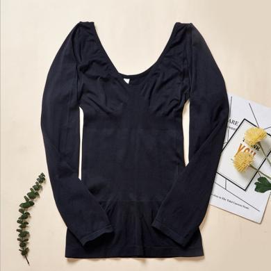摩登孕媽 春秋裝新款內衣女薄款修身性感低領打底衫美體塑身緊身長袖上衣女