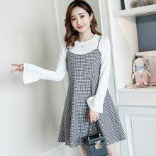 妃孕宝 春夏装新款韩版喇叭袖上衣+时尚格子吊带裙两件套孕妇连衣裙