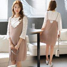 妃孕宝 春夏装新款韩版蕾丝七分袖上衣+吊带裙两件套孕妇裙