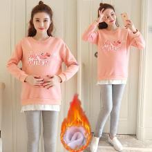 妃孕寶 冬季新款加絨加厚孕婦套裝粉紅豹圖案上衣托腹褲兩件套