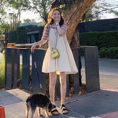 妃孕寶 春夏裝新款針織條紋上衣+寬松吊帶裙孕婦裝兩件套時尚孕婦裙套裝女