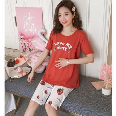 妃孕宝 孕妇睡衣产后月子服夏季新款哺乳短袖T恤草莓印花五分裤套裤女
