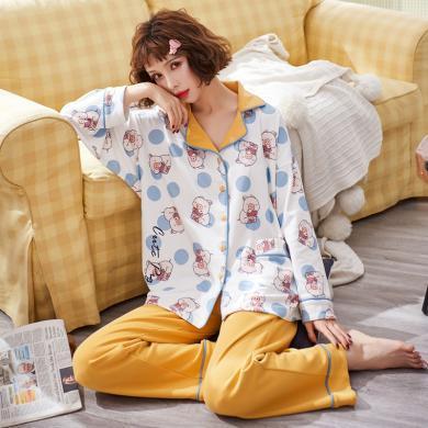 妃孕寶 孕婦睡衣產后月子服春秋季新款前短后長哺乳開衫寬松長褲套褲女