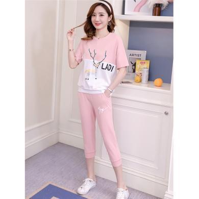 摩登孕媽 哺乳套褲女夏季新款氣質圓領個性印花短袖T恤寬松顯瘦七分褲
