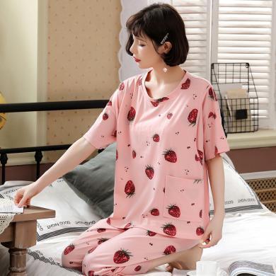 摩登孕媽 孕產婦睡衣套褲女夏季新款草莓印花哺乳短袖T恤寬松大碼九分褲