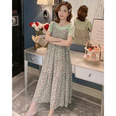 妃孕寶 時尚孕婦套裙夏季新款女裝氣質圓領綠色短袖T恤清新碎花吊帶裙