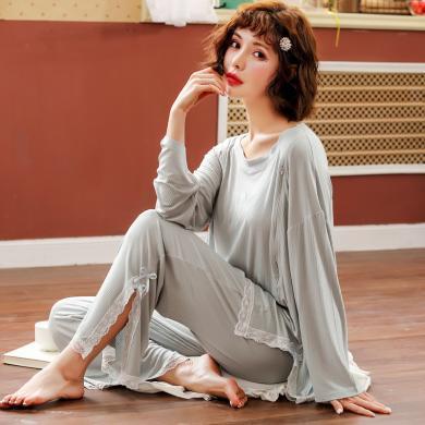 摩登孕媽 胖mm產婦月子服春秋季新款蕾絲拼接側開衩哺乳上衣垂感長褲睡衣女