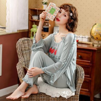 摩登孕媽 哺乳睡衣套褲女春秋季新款個性系帶草莓繡花上衣木耳邊裝飾長褲