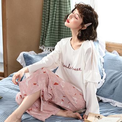 妃孕寶 孕婦家居服套裝春秋季新款休閑寬松哺乳睡衣兩件套印花長袖月子服