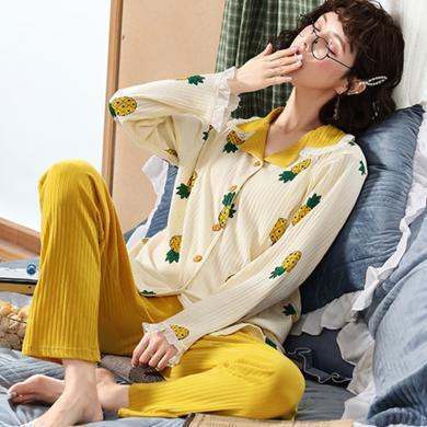 妃孕寶 春秋季新款菠蘿印花睡衣家居服套裝休閑寬松月子服哺乳兩件套女