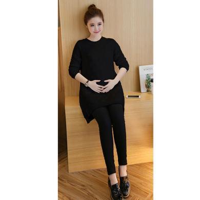 摩登孕媽 孕婦套褲女秋季新款時尚兩件套波點衛衣+托腹褲潮媽套裝