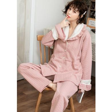 妃孕宝 冬季新款孕妇睡衣产后月子服加厚家居服套装哺乳两件套女
