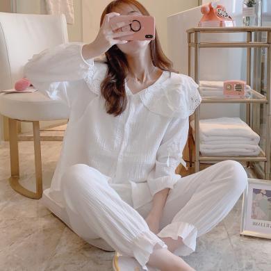 妃孕寶 孕婦睡衣套褲春秋新款產后月子服哺乳開衫+寬松長褲套裝女