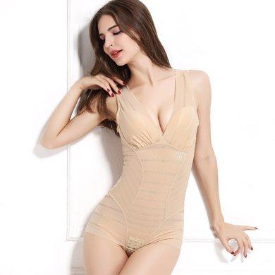 妃孕寶 新款產后收腹束腰無痕束身條紋連體衣薄塑身衣