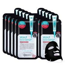 【2盒装】 韩国可莱丝WHP美白保湿竹炭面膜10片/盒 黑色