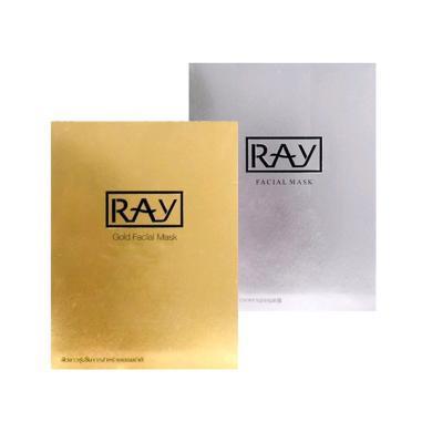 【支持購物卡】泰國RAY妝蕾 蠶絲面膜10片/盒 (金色1盒+銀色1盒 組合)