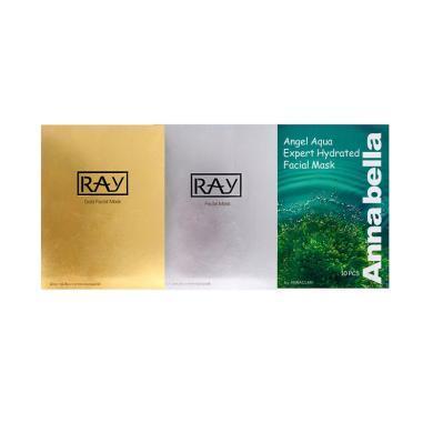 【3盒裝】RAY補水面膜金+銀+ANNABELLA 安娜貝拉海藻面膜10片*3盒