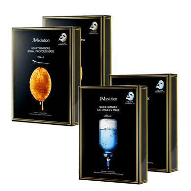 【支持购物卡】【4盒】韩国JMsolution 水光蜂蜜面膜2盒+JM深水炸弹针剂急救面膜2盒 组合装 共40片