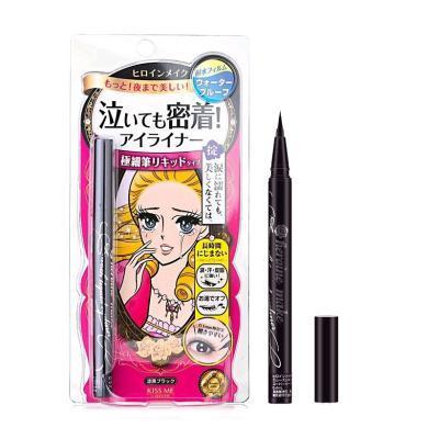 【支持購物卡】日本Kiss Me奇士美 花漾美姬夢幻淚眼防水眼線液筆0.4ml  黑色