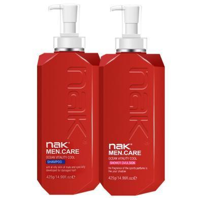 nak 男士清爽潔凈洗發水沐浴露套裝洗沐套裝控油清潔425g+425g