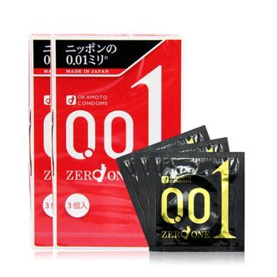 【支持购物卡】【2盒】日本冈本001安全套避孕套超薄0.01(三只装/盒)