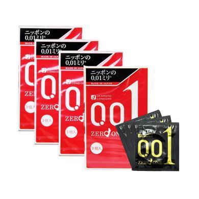 【支持购物卡】【4盒】日本冈本001安全套避孕套超薄0.01(三只装/盒)
