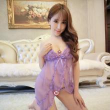 俏皮天使 情趣内衣女士性感睡裙制服诱惑角色扮演 透视花边开衩吊带装-粉紫