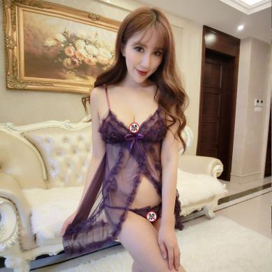 俏皮天使 情趣內衣女士性感睡裙制服誘惑角色扮演 透視花邊開衩吊帶裝-紫色