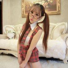 碧雅情趣内衣学生装制服诱惑性感女士角色扮演 红格吊带学生装