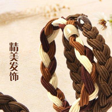姣蘭 韓版發圈飾品雙色頭花發飾 發帶頭繩盤發發繩流行頭飾
