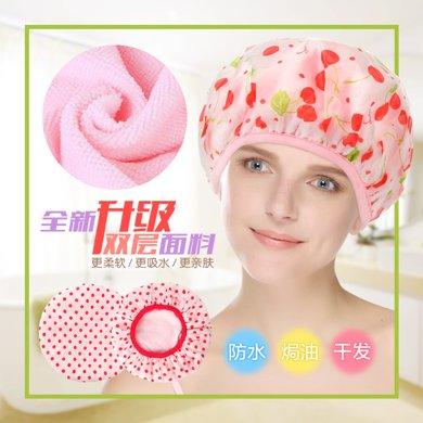 姣蘭 三合一成人防水浴帽 印花韓版加大干發帽女焗油帽洗頭帽