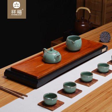 祥福 璞居茶盤竹制大小號日式功夫茶具茶盤家用排水茶臺茶托辦公室