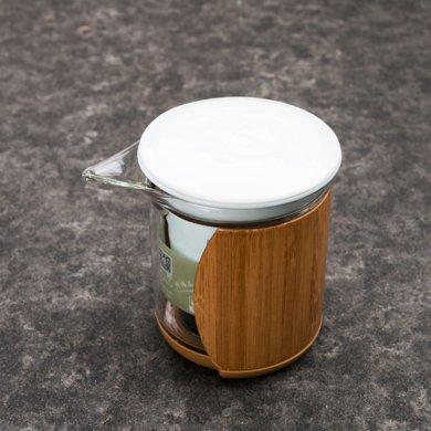 祥福乐透 玻璃陶瓷竹制杯套泡茶器