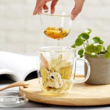 爱屋格林创意家居欧式双层立体真金印花高耐热玻璃杯隔热花茶杯