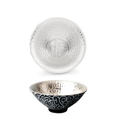 AlfunBel艾芳貝兒陶瓷茶杯內鑲銀功夫茶杯主人杯淺浮雕鎏銀斗笠品杯-福C-AG-9-11